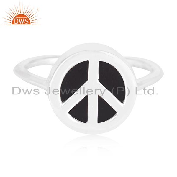 Fine 925 Silver Black Onyx Gemstone Peace Sign Custom Ring Manufacturer India
