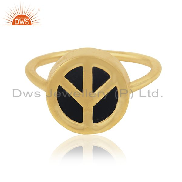 14k Gold Plated Customized Peace Sign 925 Silver Ring Manufacturer India
