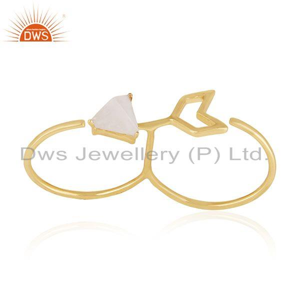 Arrow Design 925 Silver Gold Plated Moonstone Double Finger Ring Supplier