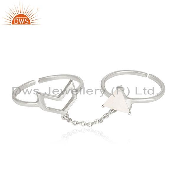 Fine Sterling Silver Double Finger Arrow Shape Ring Manufacturer India