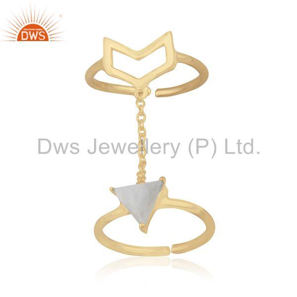 Arrow Shape Double Finger Sterling Silver Chain Ring Manufacturers