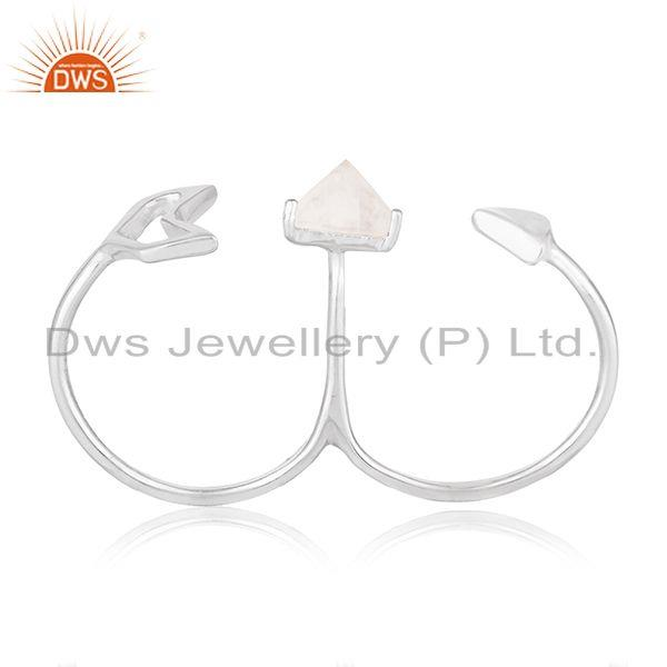 Fine 925 Silver Arrow Design Gemstone Double Finger Ring Jewelry Wholesale