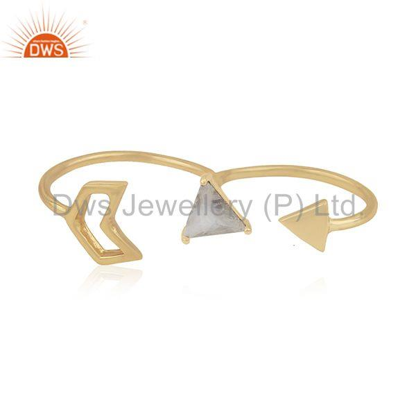 Gold Plated 925 Silver Gemstone Arrow Shape Double Finger Ring Jewelry Supplier