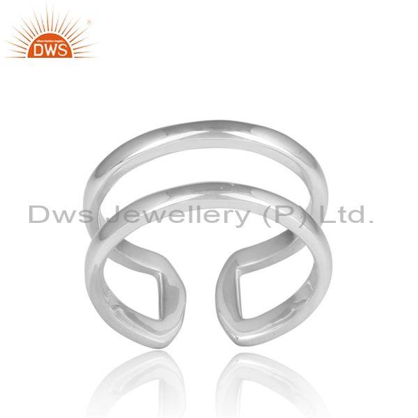 Handmade fine sterling silver adjustable double band ring