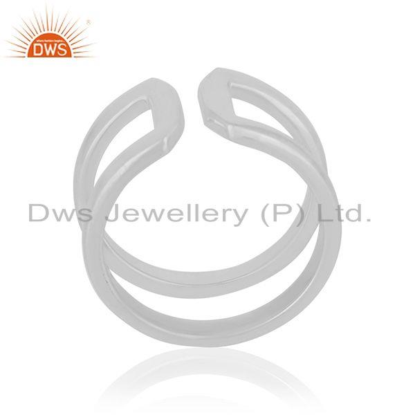 Simple Design 925 Sterling Silver White Rhodium Plated Openable Ring Wholesale