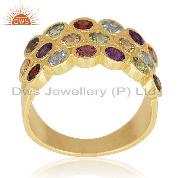 Multi Natural Gemstone Gold Plated Sterling Cocktail Ring Wholesale