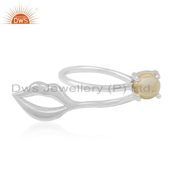 Natural Citrine Gemstone 925 Fine Silver Lip Design Ring Manufacturer