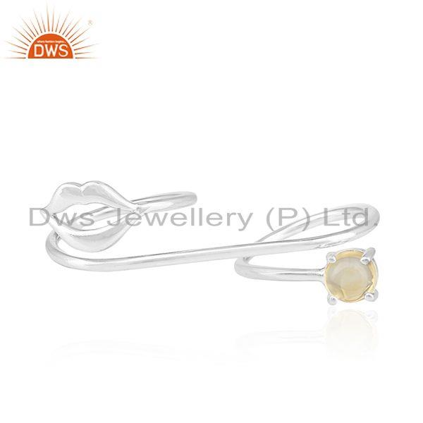 Lip Design Fine Sterling Silver Citrine Gemstone Double Finger Ring Wholesale