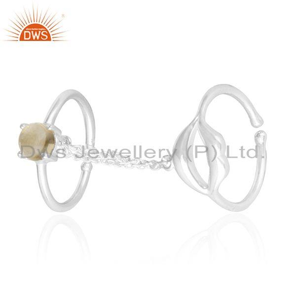 925 Sterling Fine Silver Citrine Gemstone Double Finger Lip Design Ring Supplier
