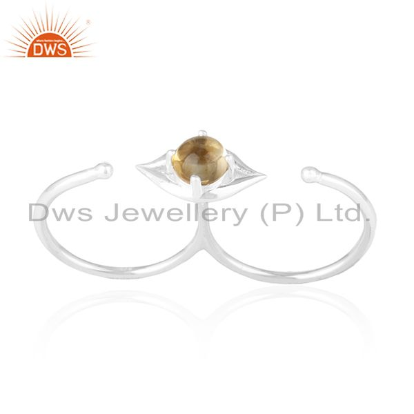 Fine Sterling Silver Citrine Gemstone Lip Design Double Finger Ring Manufacturer