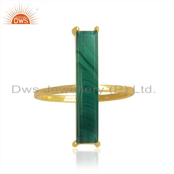 Malachite Gemstone 925 Silver Gold Plated Ring Manufacturer of Jewelry
