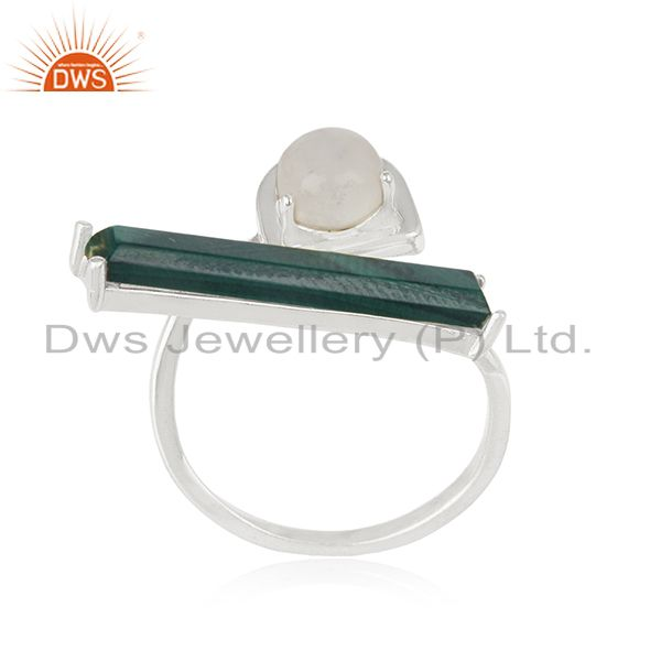 Rainbow Moonstone and Malachite Gemstone Fine Sterling Silver Ring Manufacturers