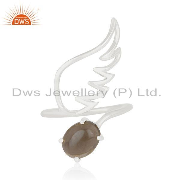 Angel Wing 925 Sterling Fine Silver Smoky Quartz Gemstone Ring Wholesale