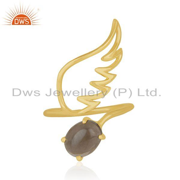 Amgel Wing 925 Sterling Silver Gold Plated Smoky Quartz Ring Manufacturers