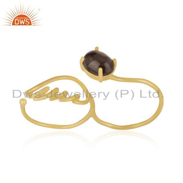 Angel Wing 925 Silver Gold Plated Smoky Quartz Double Finger Ring Wholesale