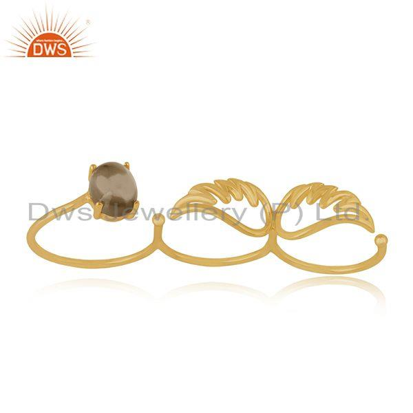 Gold Plated Angel Wing 925 Silver Smoky Quartz Gemstone Three Finger Ring