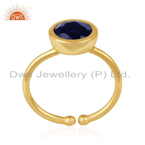 Blue Corundum Gemstone 925 Sterling Silver Gold Plated Ring Manufacturers