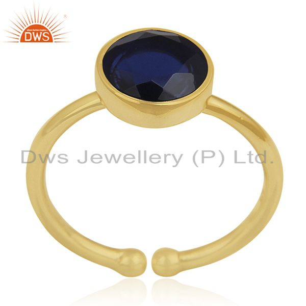 Yellow Gold Plated 925 Silver Blue Corundum Gemstone Ring Manufacturers