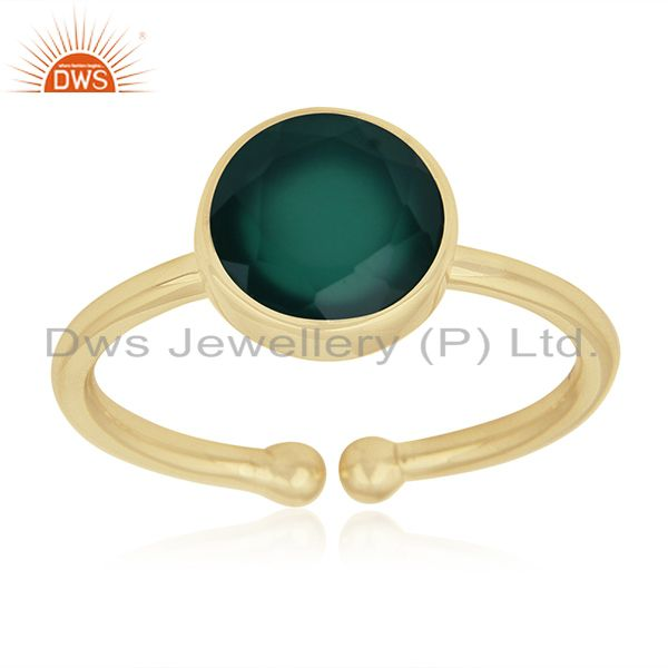 Green Onyx Gemstone 925 Sterling Silver Gold Plated Ring Wholesale