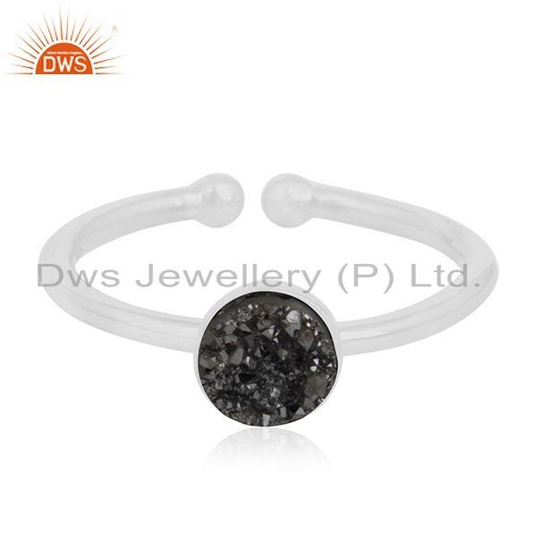 Black Druzy Gemstone 925 Sterling Silver Ring Manufacturer of Custom Jewelry