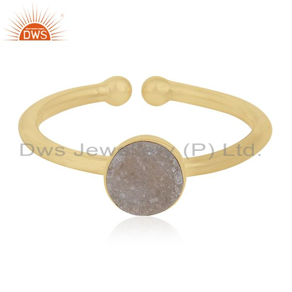 White Druzy Handmade 925 Silver Gold Plated Ring Manufacturers