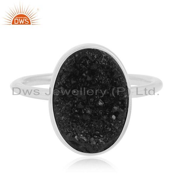Black Durzy Gemstone 925 Sterling Fine Silver Statement Ring Manufacturer