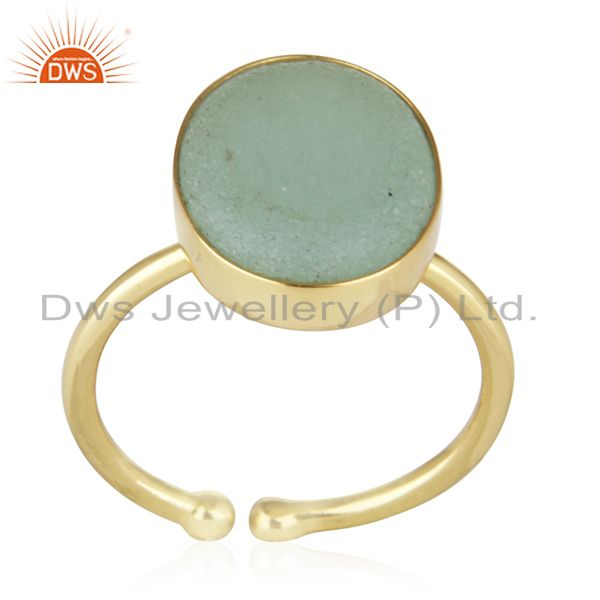 Aqua Gemstone 925 Silver Handmade Gold Plated Statement Ring Wholesale