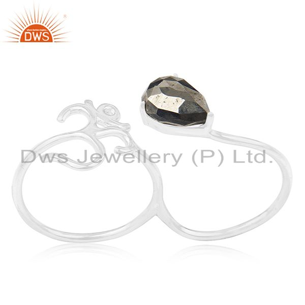 Indian Religious Om Charm Pyrite Gemstone 925 Silver Double Finger Ring Supplier