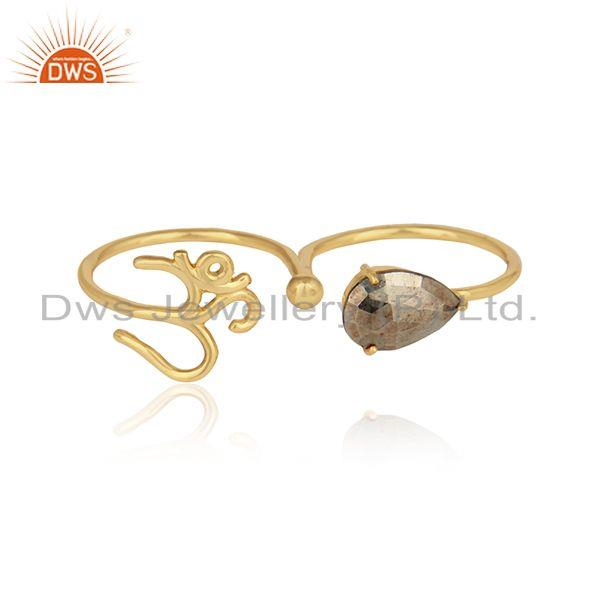 Designer om symbol ring in yellow gold on silver 925 and pyrite