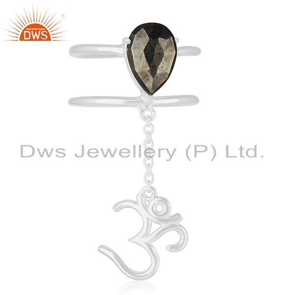Religious Om Aum Charm Fine Silver Pyrite Gemstone Double Finger Ring Wholesaler