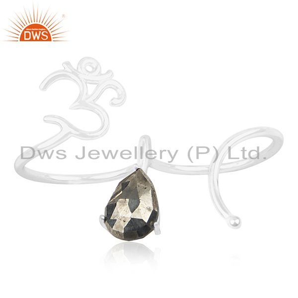 Pyrite Gemstone 925 Sterling Silver Om Aum Double Finger Ring Wholesale