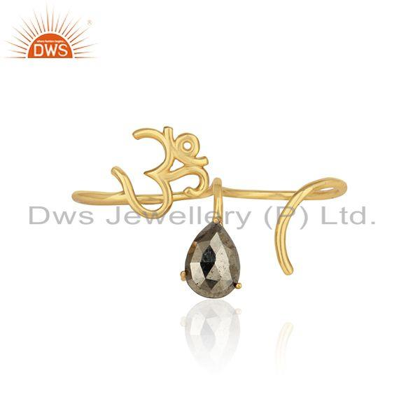 Designer holy om ring in yellow gold over silver 925 and pyrite
