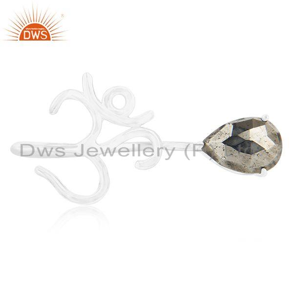 Fine Silver Om Aum Charm Pyrite Gemstone Double Finger Ring Manufacturers