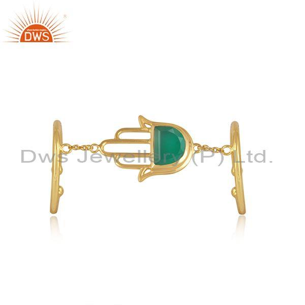 Green Onyx Set Gold On 925 Silver Hamsa Dual Finger Ring
