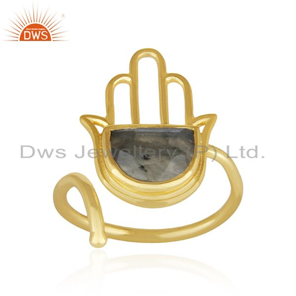 Yellow Gold Plated 925 Silver Hamsa Hand Labradorite Gemstone Ring Manufacturers