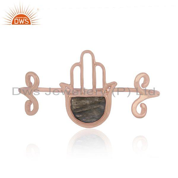 Labradorite Gemstone Rose Gold Plated Silver Hamsa Hand Ring Jewelry