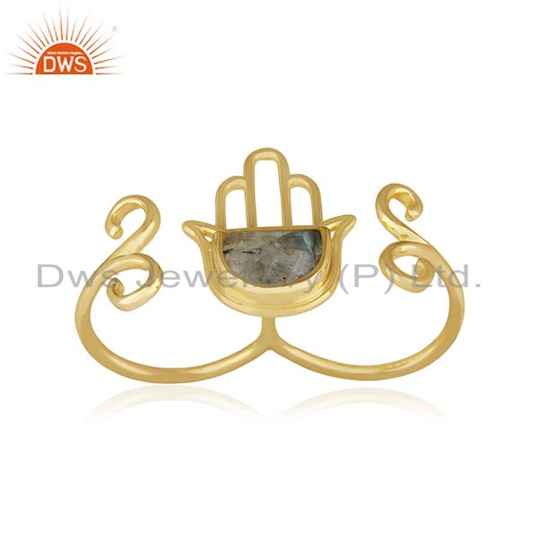 Designer Hamsa Hand Lucky Charm Gold Plated Silver Gemstone Double Finger Ring