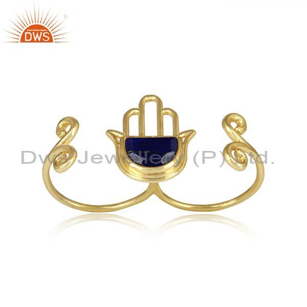 Lapis Lazuli Hamsa Two Finger Gold Plated 925 Silver Ring