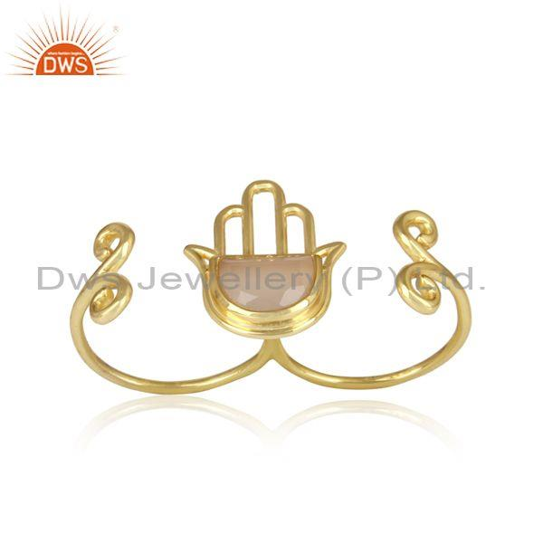 Gold On 925 Silver Rose Chalcedony Coin Hamsa Hand Ring