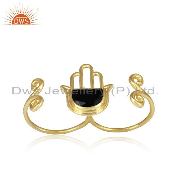 Gold On 925 Silver Black Onyx Coin Set Hamsa Design Ring