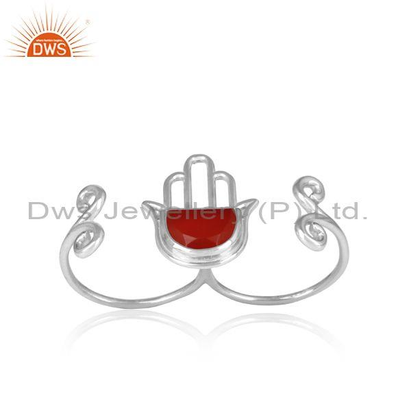 Fine 925 Silver Red Onyx Coin Set Hamsa Hand Ring