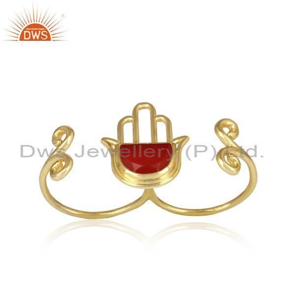 Gold Plated 925 Silver Red Onyx Coin Set Hamsa Hand Ring