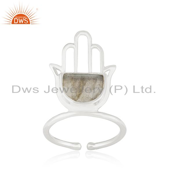 925 Sterling Fine Silver Hamsa Hand Labradorite Gemstone Ring Wholesale