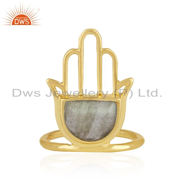 Gold Plated 925 Silver Hamsa Hand Labradorite Gemstone Ring Manufacturer