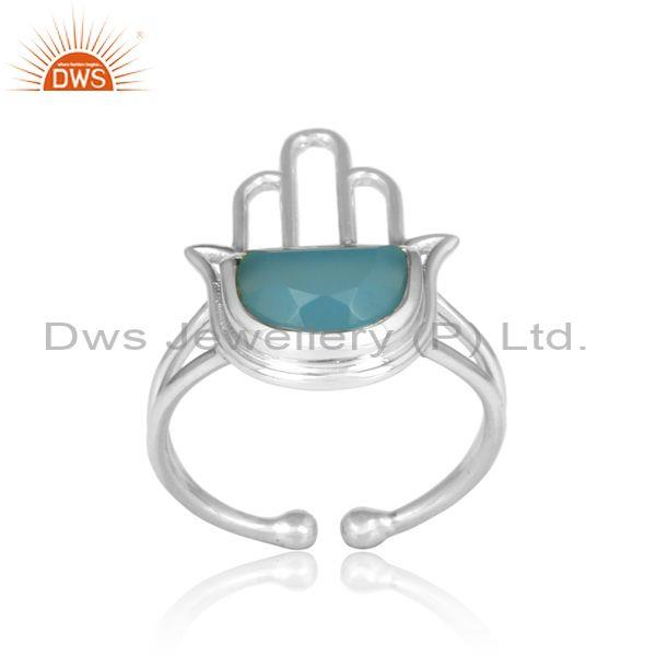 Blue Chalcedony Coin Fine Sterling Silver Hamsa Ring