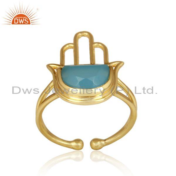 Blue chalcedony coin gold plated sterling silver hamsa ring