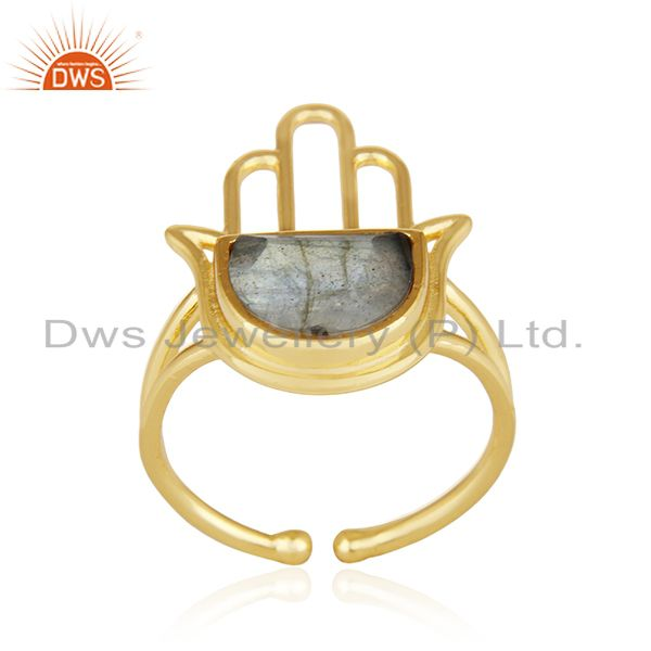 Hamsa Hand Gold Plated 925 Silver Labradorite Gemstone Ring Wholesale