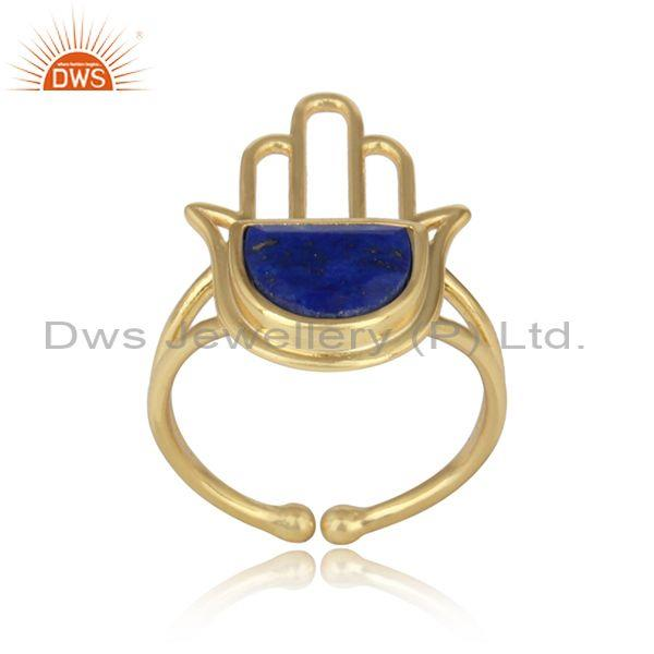 Yellow Gold on Silver 925 Designer Hamsa Hand Ring with Lapis