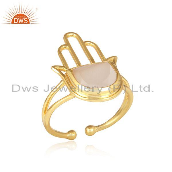 Rose Chalcedony Set Gold On 925 Silver Hamsa  Designer Ring