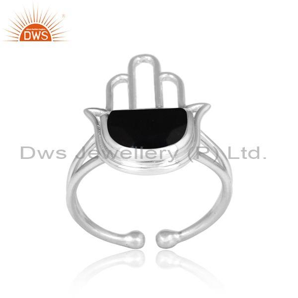 Black Onyx Coin Set Fine Sterling Silver Hamsa Ring